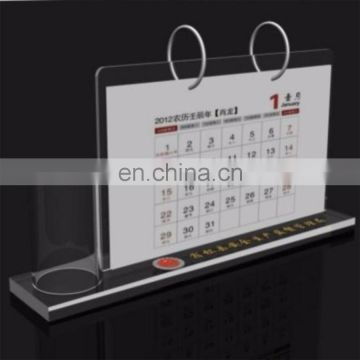 use-friendly and plane type acrylic desk calendar with pen holder