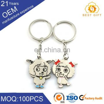 Zinc Alloy Kissing Heart Couple Keychains Metal Lovers Keyrings