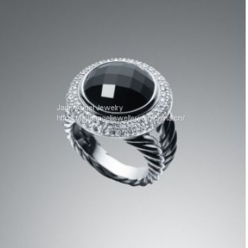 Sterling 925 Silver  inspired DY 14mm Prasiolite Cerise Ring