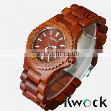 7 years Hot Sale Natural Brown Redwood Kwock Wooden Watches