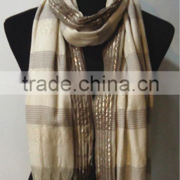 100% Rayon Stripe Scarf with metal thread