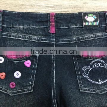 girls cute printed denim pant,denim pant decorated with fancy button and plaid #9R5833