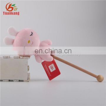 New design cute plush elephant animal toy wooden handheld massage hammer