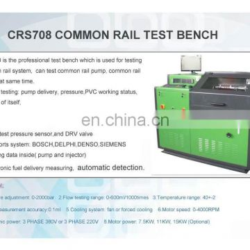 Common rail test bench with flow sensor system.