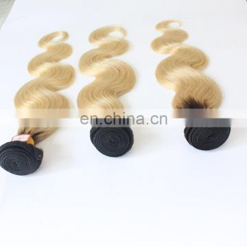 Factory price two tone color human hair extensions color 1b/60# body wave hair bundles top quality peruvian hair extensions