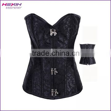 Black Brocade Boned Corset Top Metal Clasps Closure Cord Lace Up Back Body Shaper Women Basque Embroidery Corsets