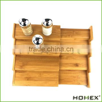 Bamboo 4 step spice shelf /spice rack Homex-BSCI