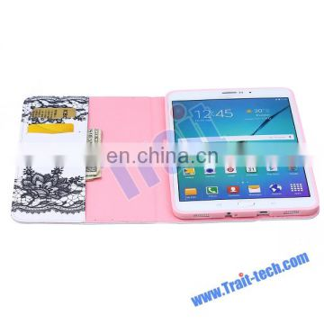Flower Card Holder Flip Stand TPU+ PU Leather Case for Samsung Galaxy Tab S2