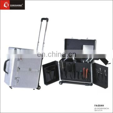 2016aluminum barber salon tool case with 2 trays inside