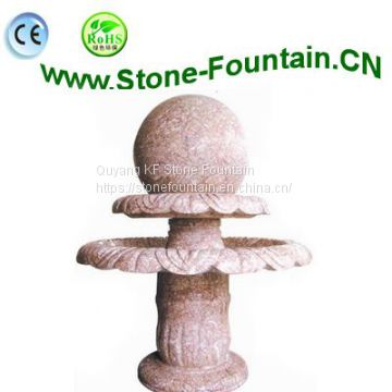 2 Tiered China Red Marble Fountain With Sphere Ball