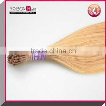 Arisonhair wholesale product keratin tipped i tip hair extension brazilian virgin human blonde pre-bonded hair extension