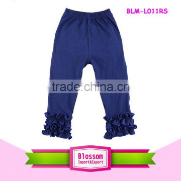 2016 Latest design kids denim fabric triple ruffle pants jeans pants girl ruffle denim pants                                                                                                         Supplier's Choice