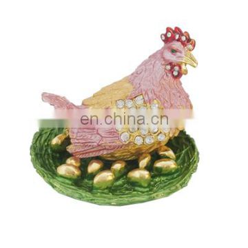 New year gift Hen with egg trinket jewelry box