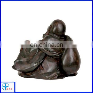antique resin buddha statues with wood grain finish effect