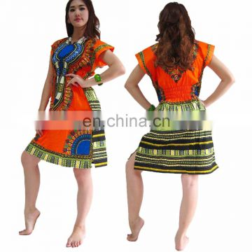 Dashik Mini Dress MJF African Dashiki Kaftan Boho Top Beach Bikini Up Lady Blouse caftan Hippie Boho Dress Kimono Look Plus Size