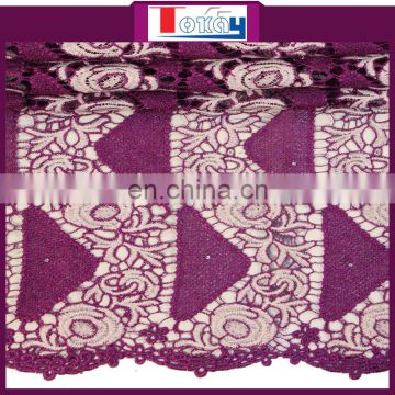 latest swiss guipure cord lace in purple for girl