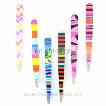 Colorful 6X Eyebrow Tweezers Slanted Hair Removal Facial Beauty Stainless Steel