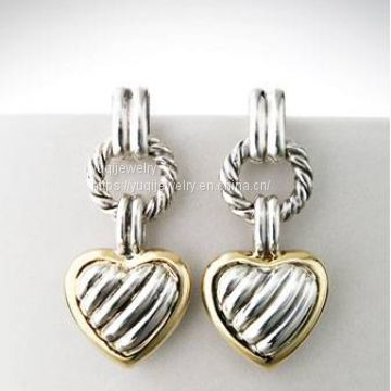 Gold Plated Silver Jewelry Cable Heart Drop Earrings(E-112)