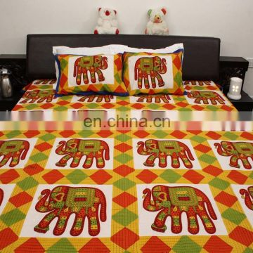 Indian vintage handmade elephant design 100 % Cotton bedsheet Jaipuri bedspread bed cover