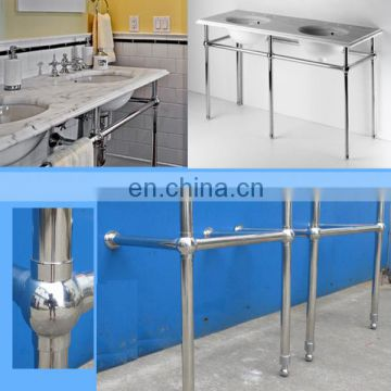 52inch stainless leg frame for white artificial marble countertop with double bowl