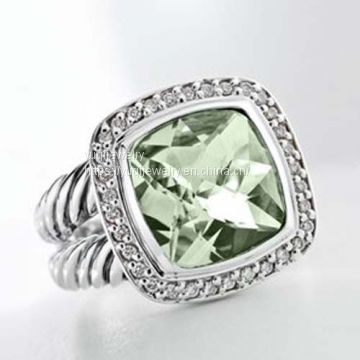 Sterling Silver Jewelry 11mm Prasiolite Albion Split-Shank Ring(R-068)