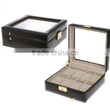 High quality PU leather watch storage box 8 slots square watch box for home use ,6 grille watch box