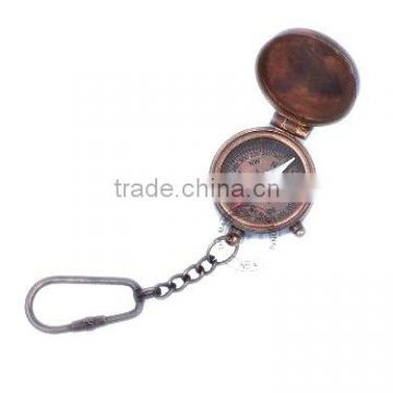 KEYCHAIN COMPASS ANTIQUE WITH LID