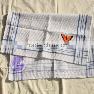 wholesale embroidered cheap 100% cotton waffle kitchen towel