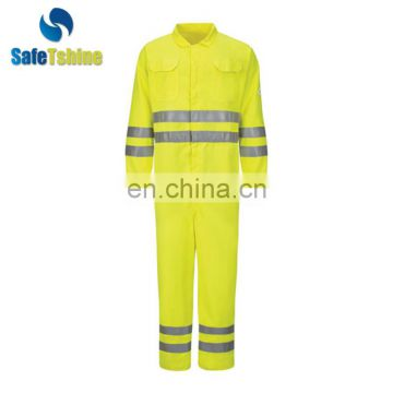 New style yellow hi vis 100% cotton flame retardant safety coverall modacrylic