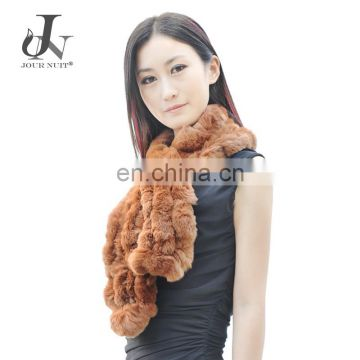 Factory Wholesale Womens Real Rex Rabbit Fur Scarf Pompom Scarves