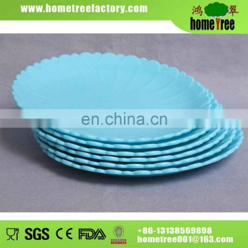 round flower design blue cheap plastic plate