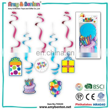 Birthday party decorations kids sets colored swirl hanging decoration