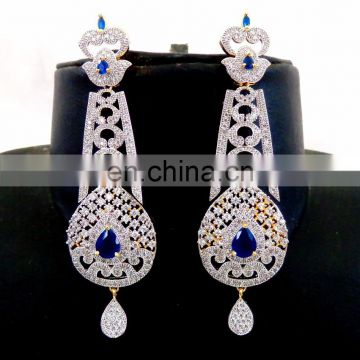 2016 Bollywood Style Dangle earring - Wholesale American diamond earring - Party wear Earring - American Diamond Jewellery