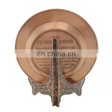 custom copper round US building insert souvenir plate with wooden base
