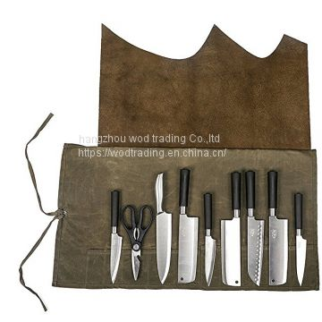 waterproof waxed canvas chef's knife roll bag