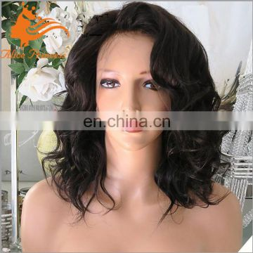 Short Wavy Hair Wigs Peruvian Human Hair Full Lace Wigs With Baby Hair