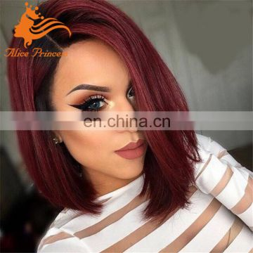 1BTred ombre human hair wig short cut bob ombre full lace wigs side part frontal full brazilian lace wig