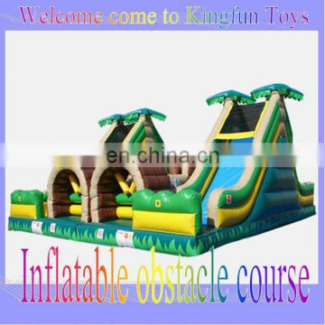 Double lanes inflatable tropical obstacle