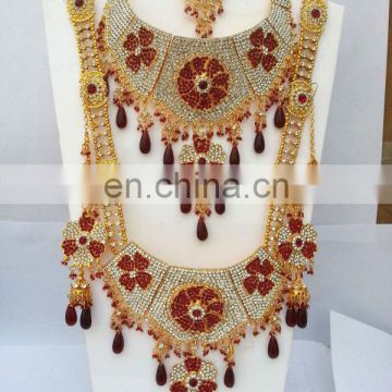 INDIAN RED WEDDING BRIDAL JEWELRY/JEWELLERY SET