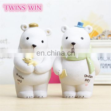 China market hotsale gift items for kids cute white Nordic bear cartoon money collection box boys girls unbreakable piggy bank