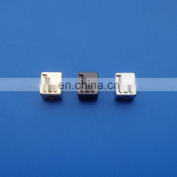 Personalized plating gold silve and black nickel cuboid shape engraved letter logo metal bead