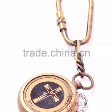 BRASS ANTIQUE COMPASS KEYCHAIN - NAUTICAL KEY CHAIN - PROMOTIONAL GIFT KEY RING