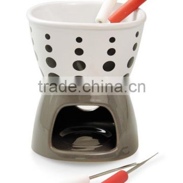 Stoneware fondue set with decal printing, beautoful fondue set