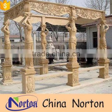 Yellow ornament garden marble large pavilion with lady statues NTGM-029Y