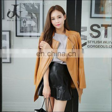 Haining Genuine Sheepskin Girls Leather Jacket Women Long Coat