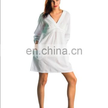White tunic fashion ladies dress manufacturer wholesaler OEM fancy fashion dress woman tunic simple attractive dress 2016 Japan