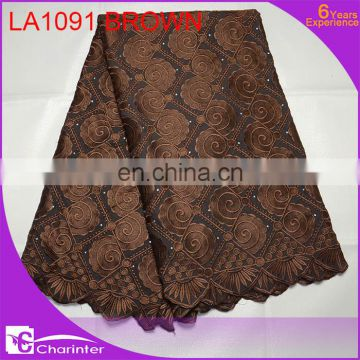high quality african swiss lace fabric LA1091 brown