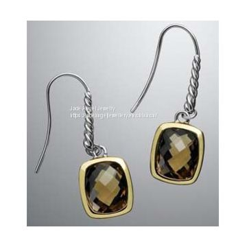 DY Sterling Silver Gold Tone  8x10mm Citrine Noblesse Earrings