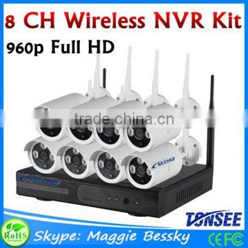Outdoor 960P 8CH wireless cctv kit, 8 Channel Wifi 1 3MP ip