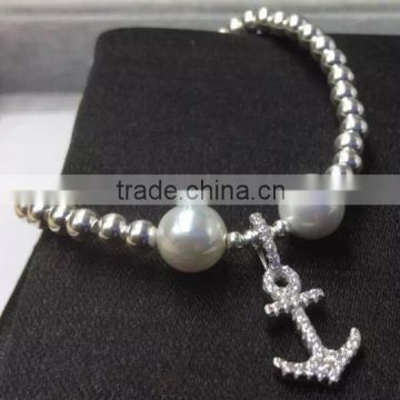 Melone 925 Sterling Silver Anchor Bracelet Freshwater Pearl Beads Bracelet Jewelry wholesale